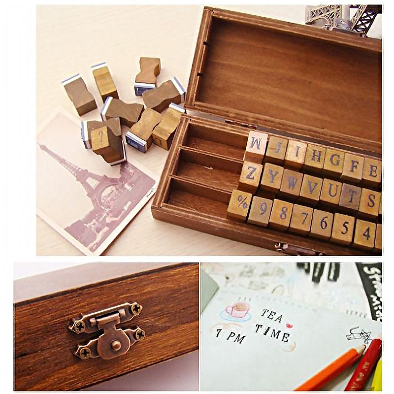 Cheap wooden rubber stamp set