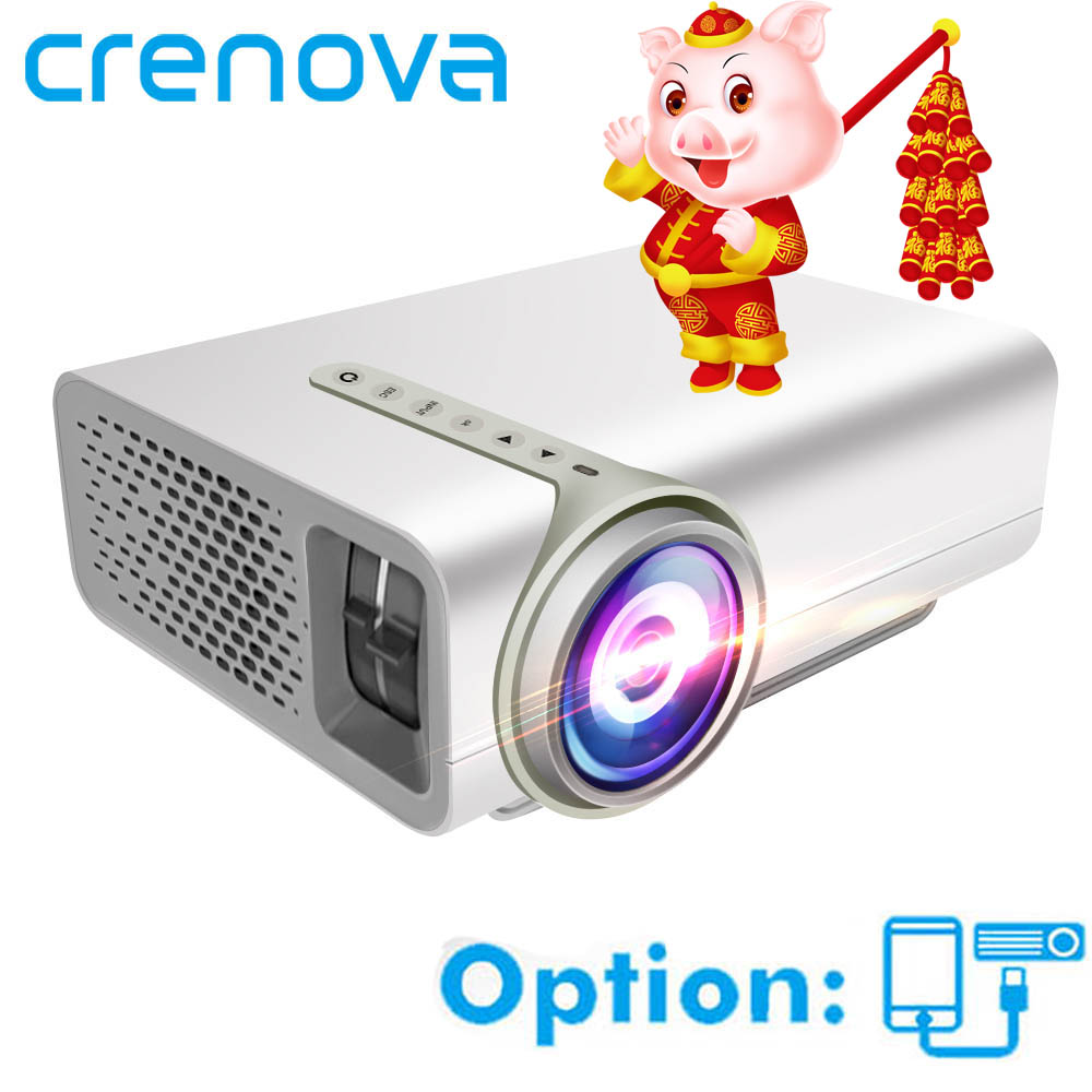 CRENOVA Lcd Projecteur Pour Téléphone Intelligent Projecteur Full HD 1920*1080 p Avec HDMI USB VGA AV Home Cinéma film Beamer Proyector