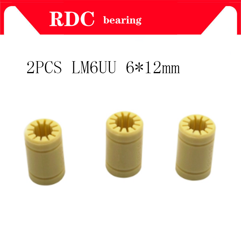 Free Shipping Hot Sale 2pcs 6x12mm 3D Printer Bearings Shaft RJ4JP-01-06 Solid Polymer LM6UU Bearings For 3D Printer Accessories
