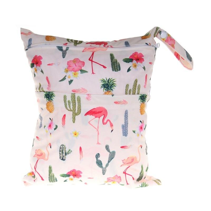 [Sigzagor] 1 Влажная сухая сумка с двумя молниями для детских подгузников, водонепроницаемая сумка для подгузников, розничная и, 36 см x 29 см, на выбор 1000 - Цвет: W101 flamingo cactus