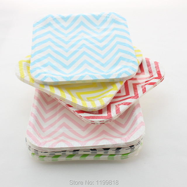 Disposable 7\  Chevron Paper Plates Party Supplies Colorful Square Paper & Aliexpress.com : Buy Free Shipping!!! Disposable 7\