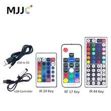 Télécommande sans fil infrarouge, USB LED de contrôle 5V, Mini 3 17 44 24 touches, télécommande infrarouge pour bande lumineuse RGB, 5050, 3528