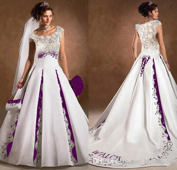 Images Wedding Gowns: Purple And White Wedding Dress A Line Satin Lace