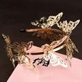 Новое Прибытие Роскошные Блестящие золотые бабочки Благородный Ободки Диадемы головной убор для невесты Свадебное платье аксессуары и украшения для Волос