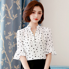 Fashion Brand New Chiffon Blouse 2018 Summer Women Flower print Casual Flare Sleeve blouse Plus Size Office lady clothing