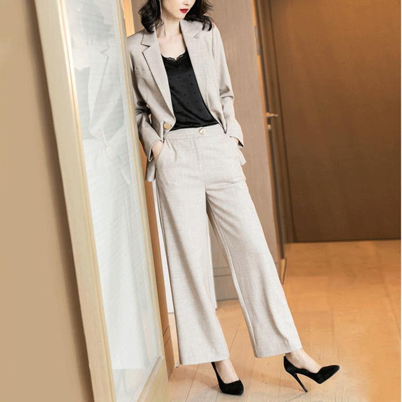 Women's Suit Women's New Fashion Suit Single Button Long-sleeved Jacket + Trousers Two-piece Ladies Business Casual Suit