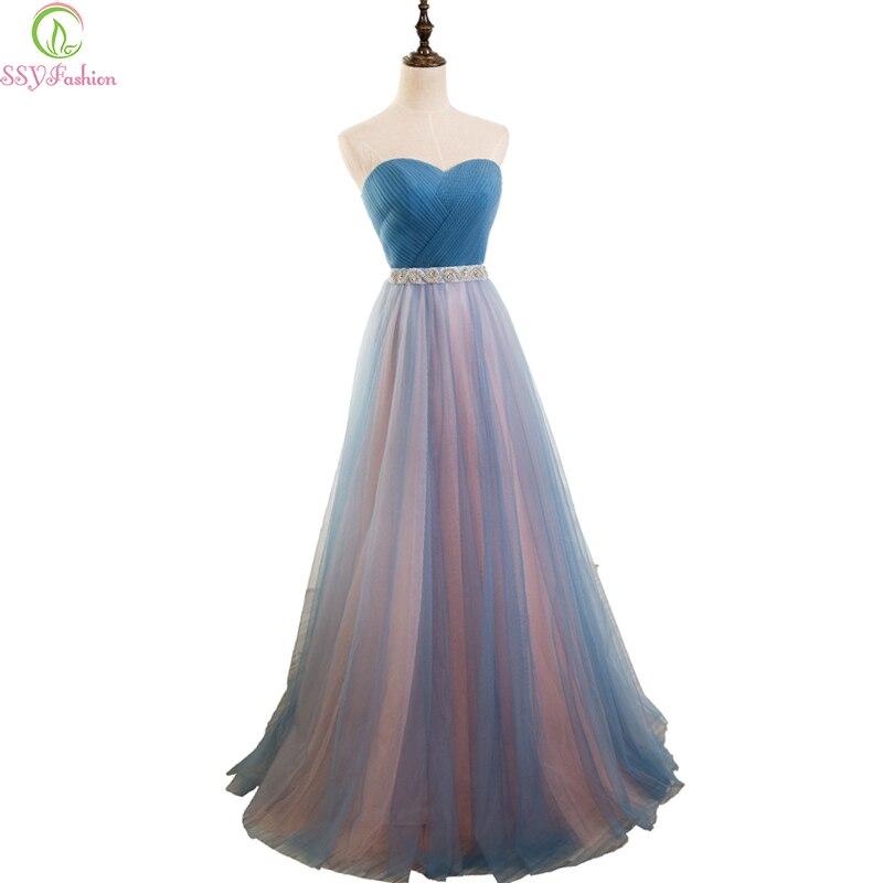 Ssyfashion Long Sleeve Wedding Dresses The Bride Elegant: SSYFashion Simple Blue Tulle Strapless Sleeveless Long