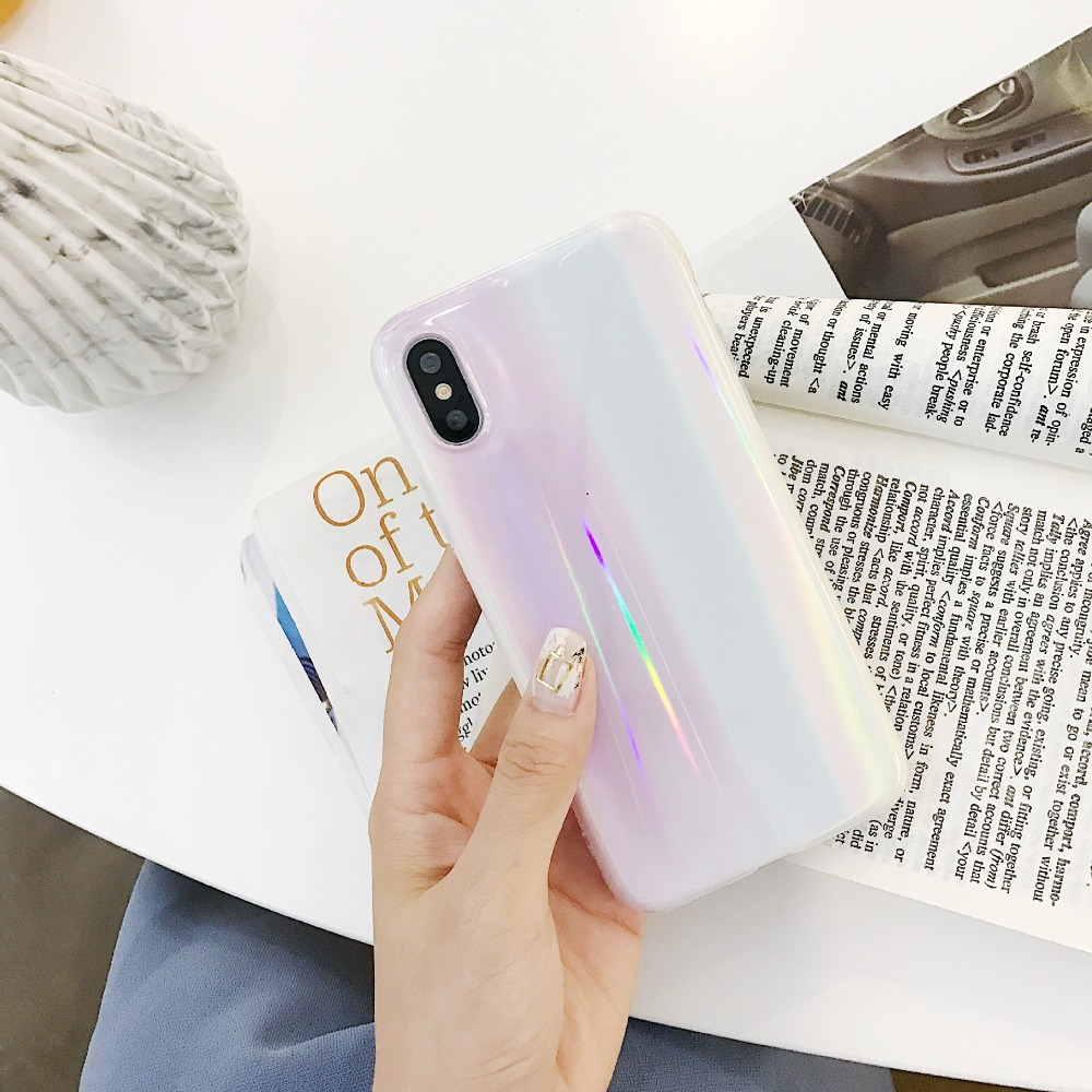 PGSD simple pink aurora colorful laser apple mobile