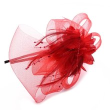 NEW Red feather flower gauze beads headband