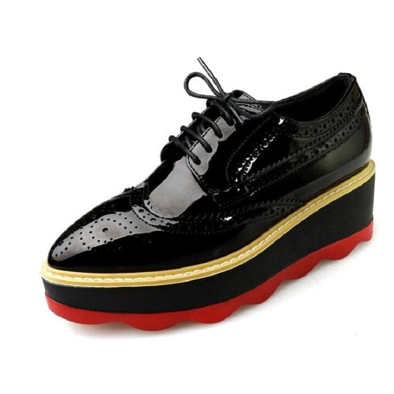 Lace Up Oxford Flat High Platform Shoes