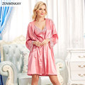 2017 Spring Summer Red Sexy Satin Nightwear Robe Sleepwear Silk Pijama Satin Robe Set Silk Robes for Women Two Piece Dress