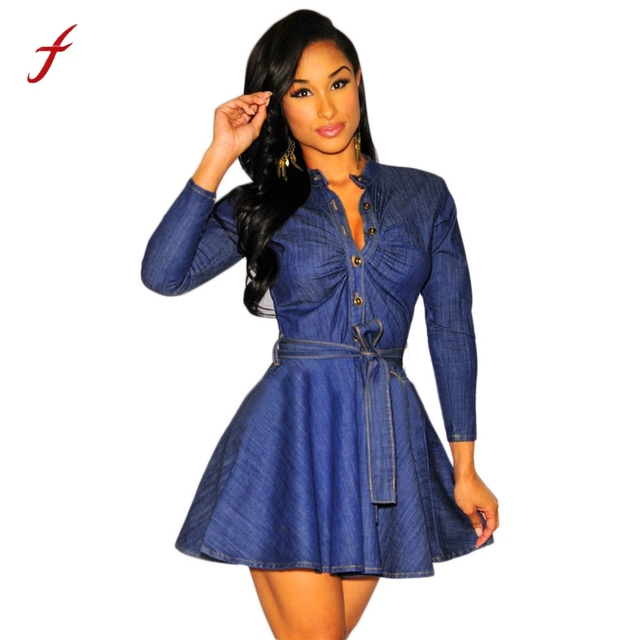 Feitong 2018 Printemps Femmes Robe robes robe femme Bowknot Ceinture Slim  Fit Denim Jean Robe sexy