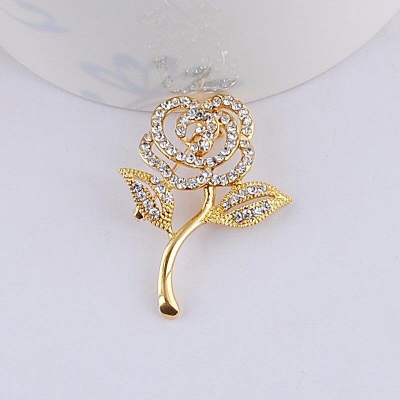 New Arrival Crystal Rose Flower Brooch kc Gold Elegant Brooches & Pins Cute Fashion Jewelry 563lf0Bki