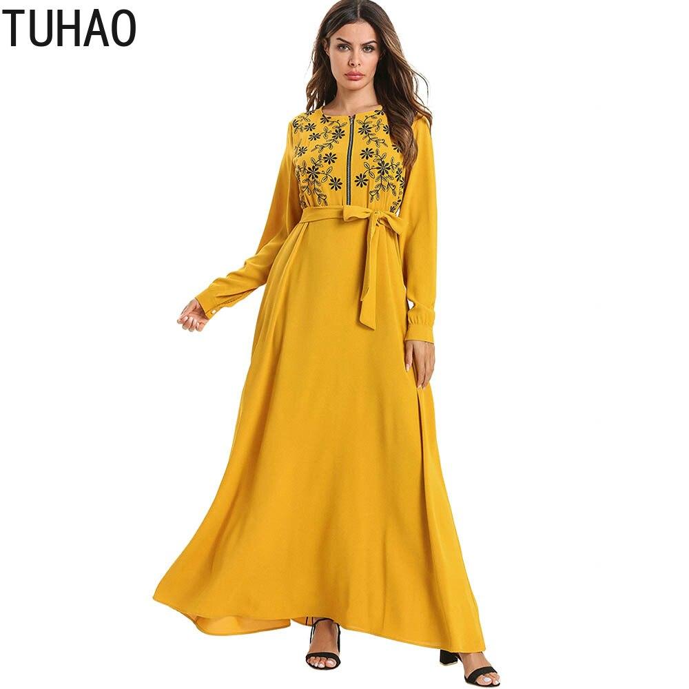 Manches longues Robe jaune femme avant ouvert fermeture éclair imprimé Floral taille haute longue Robe avec ceintures loisirs Maxi Robe T7556