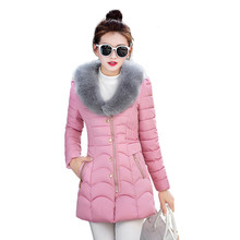 2016 New Winter Coat Female Plus Size Slim Long Down Jacket Women's Hooded Fur Collar Solid Padded Cotton Overcoat C306