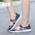 HKR 2017 Осень женщины квартиры обувь женщины тканые обувь на плоской подошве повседневная обувь шлепки женщин нескольких цветов бездельники женская обувь 577