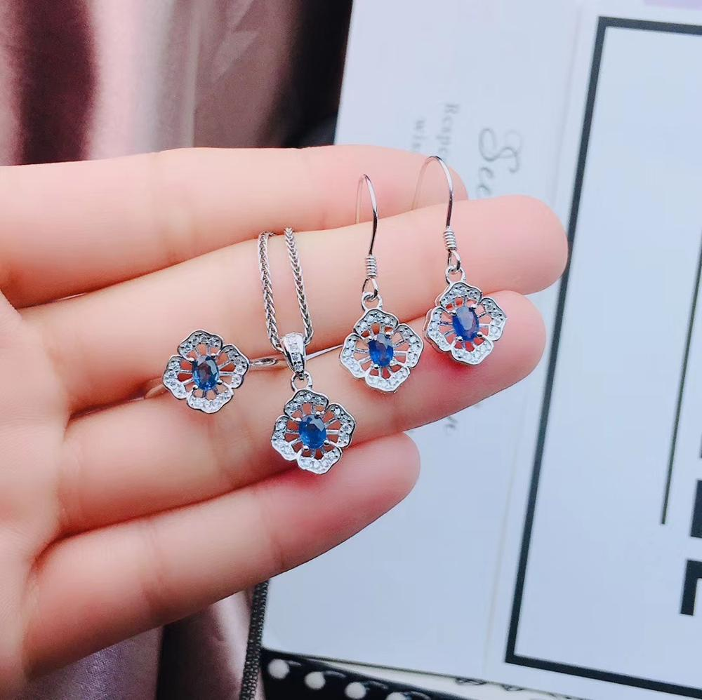 Neue art Blue sapphire edelstein schmuck set einschließlich ring ohrringe halskette mit 925 silber - 5