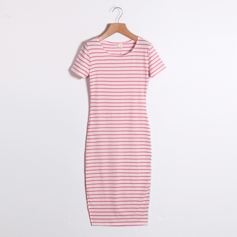 Casual Summer Women Dress Short Sleeve Round Neck Slim Fit Bodycon Dress Striped Side Split T Shirt Womens Dresses LJ3904R 4