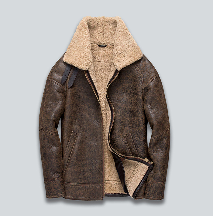Italy man's genuine sheepskin lambskin leather shearing coat male b3 bomber jacket for male brown vintage warm clothing winter