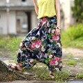 SCUWLINEN 2017 Das Mulheres Calças Da Cópia Da Flor Do Vintage Soltos Cross-calças de Linho Harem Pants Mulheres Calça Casual Feminino S34