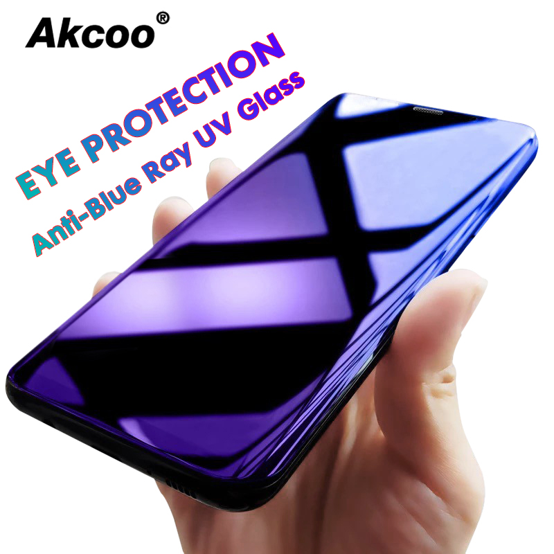 Akcoo S10 Plus Anti Blue Ray Glass Protector For Samsung Galaxy S8 9 10e Plus Note 8 9 UV Glass Full Glue Screen Protector Film