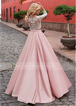 Elegant Two-piece  Prom Dresses Fashionable Tulle & Satin Jewel Neckline A-Line Long Evening Dress Prom Gowns Custom Made 2 piec 2