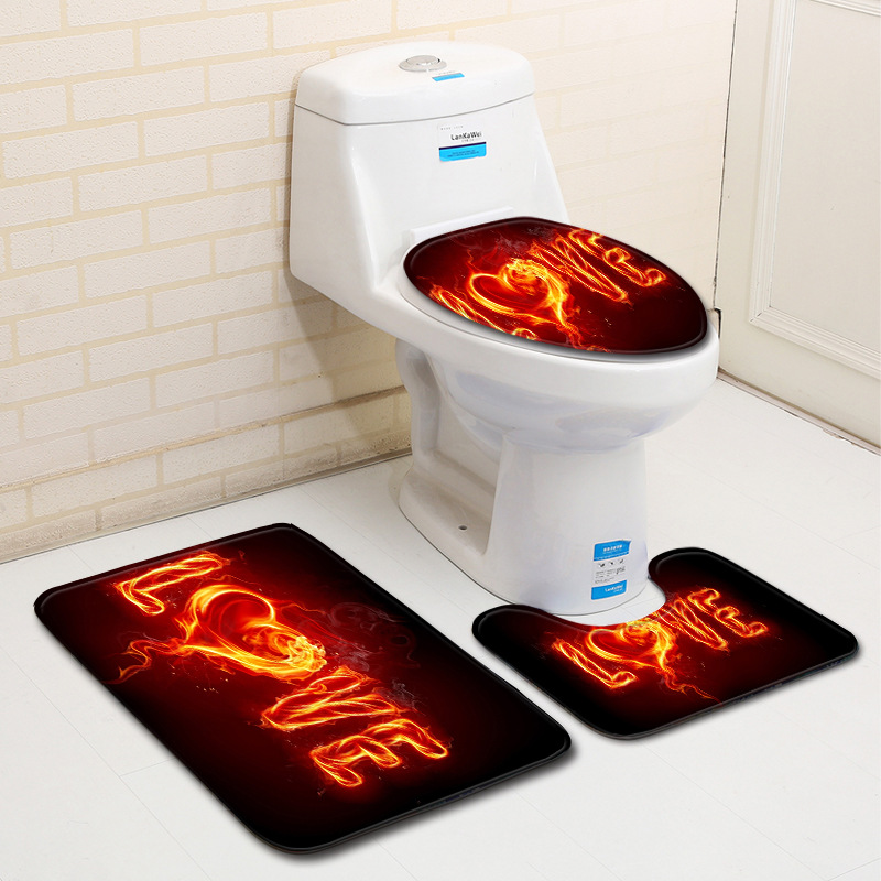 4Pcs//Set Anti-Slip Bathroom Toilet Rug+Lid Toilet Cover+Bath Mat+Shower
