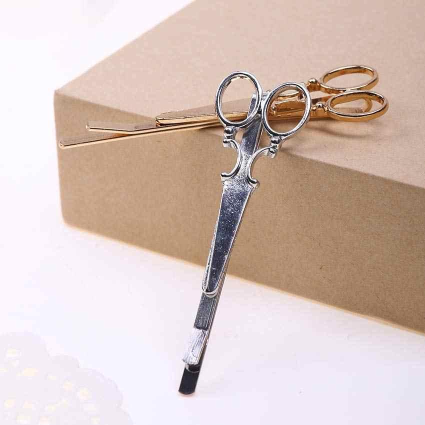 1PC nouveau charme doux or argent ciseaux en forme d'épingle à cheveux de mariée accessoires de cheveux de mariage pinces à cheveux