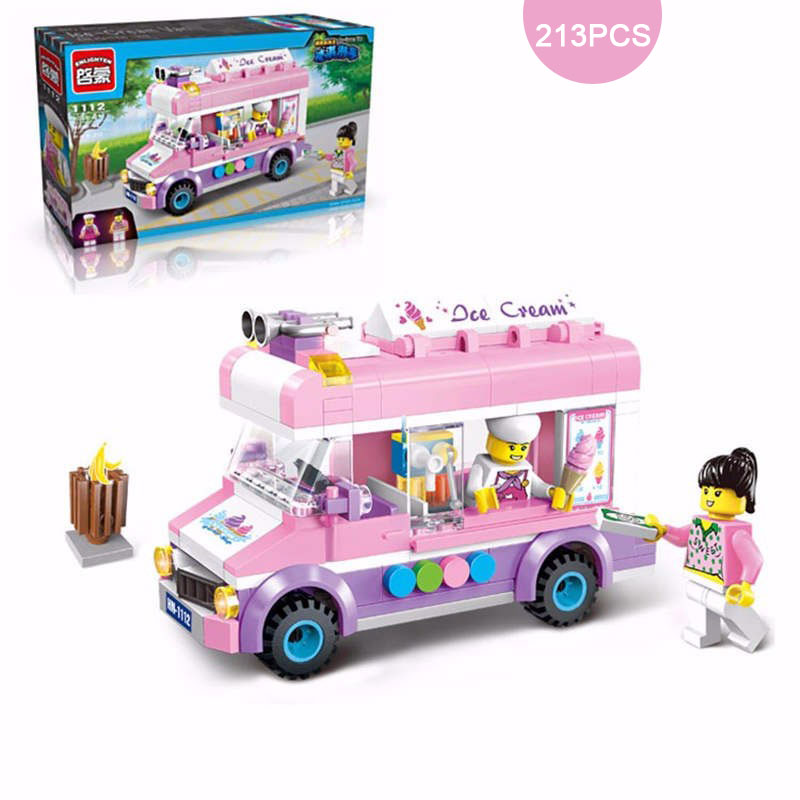 213PCS Girls Bricks City Movable Ice Cream Truck Van Model Building Blocks Toy Girl's DIY Assembling Educational Toys For Gift le toy van набор