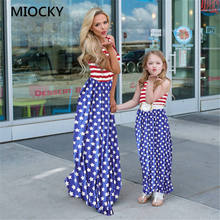Mom and Daughter Dress Family Matching Clothes 2019 Summer Striped Stars Print Long Dress 2019 Mother and Daughter Clothes E0203