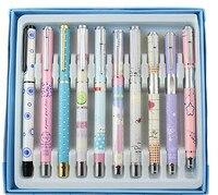 HERO 10pcs/set Metal Fountain Pen Set Ink Pen Writing Pen for School Student Pupils Stationery caneta tinteiro dolma kalem