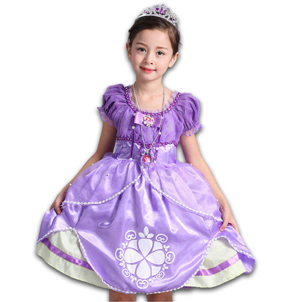 High Quality Summer Fancy Sofia Princess Dress for Girls Kids Cartoon Aurora Birtyday Party Dresses Children Cinderella Gown Hot qiu dong children dress long sleeved cinderella princess dress love sally dresses of the girls