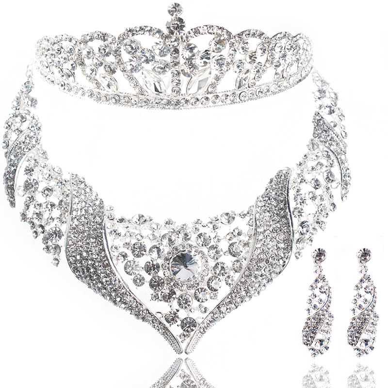 Fashion bridal Pageant Tiara Crown Necklace Earring 3 Pieces Jewelry