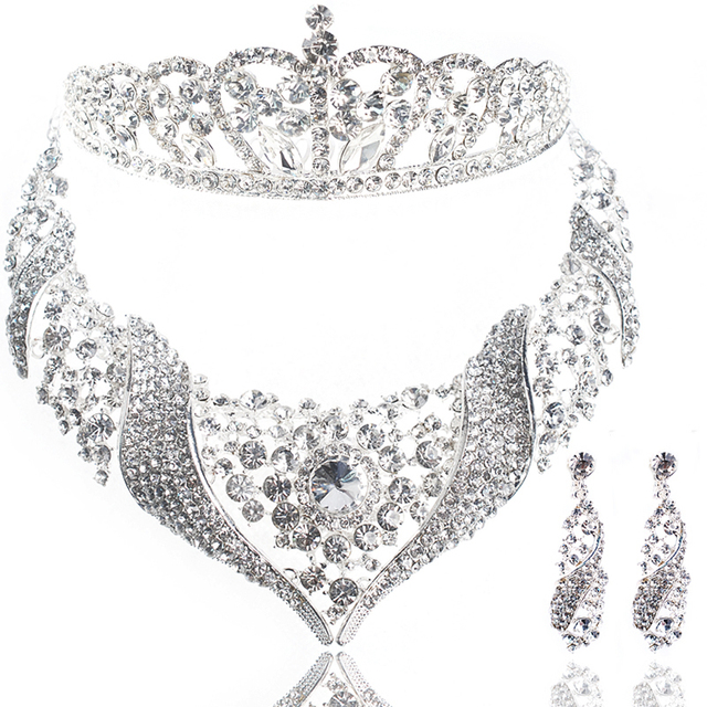 Fashion bridal Pageant Tiara Crown Necklace Earring 3 Pieces Jewelry Set Marriage Bridal Wedding Dress Decoration Item Gifts