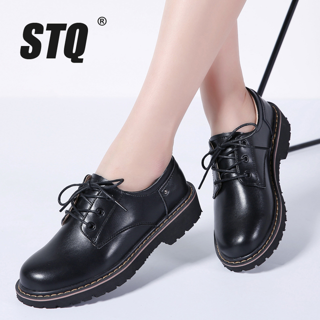 STQ 2019 Spring women oxford shoes casual flats dress black work shoes women  genuine Leather lace up boat shoes moccasins WF031 d8c910f572