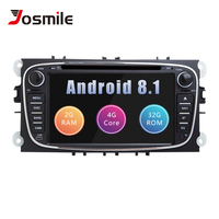 2 din Android 8.1 Car DVD Player For Ford Focus 2 Mondeo 4 C Max S Max Galaxy KugaTransit Connect Multimedia Radio GPSNavigation