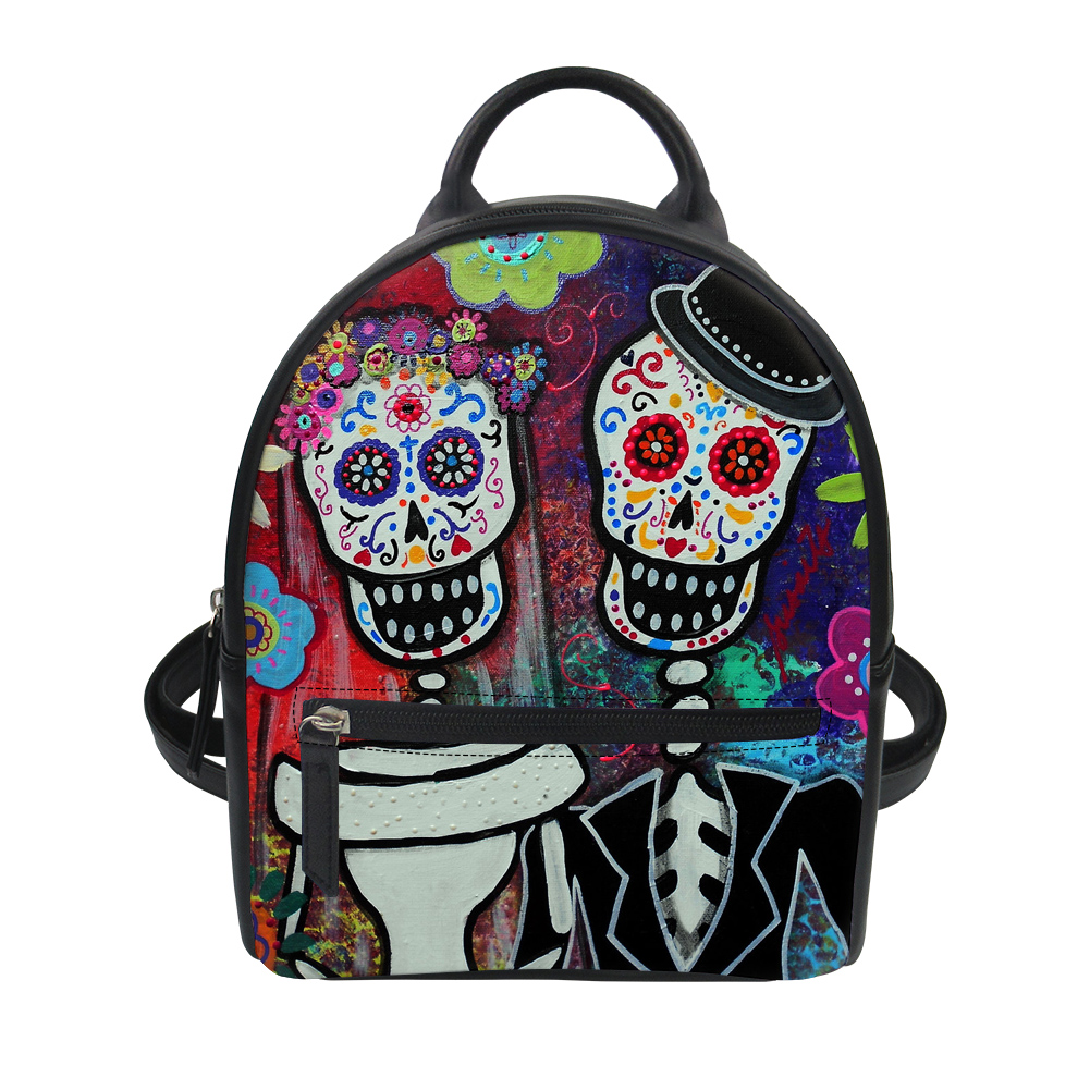 FORUDESIGNS Funny Cartoon Skull Design PU Backpacks for Girls Woman Small Back Pack Printing Patchwork Design Black Red Dog Cats