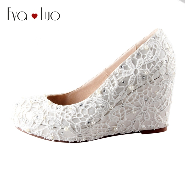 CHS489 DHL Express Handmade Wedge Heel Ivory Lace Bridal Wedding Shoes Women Pumps