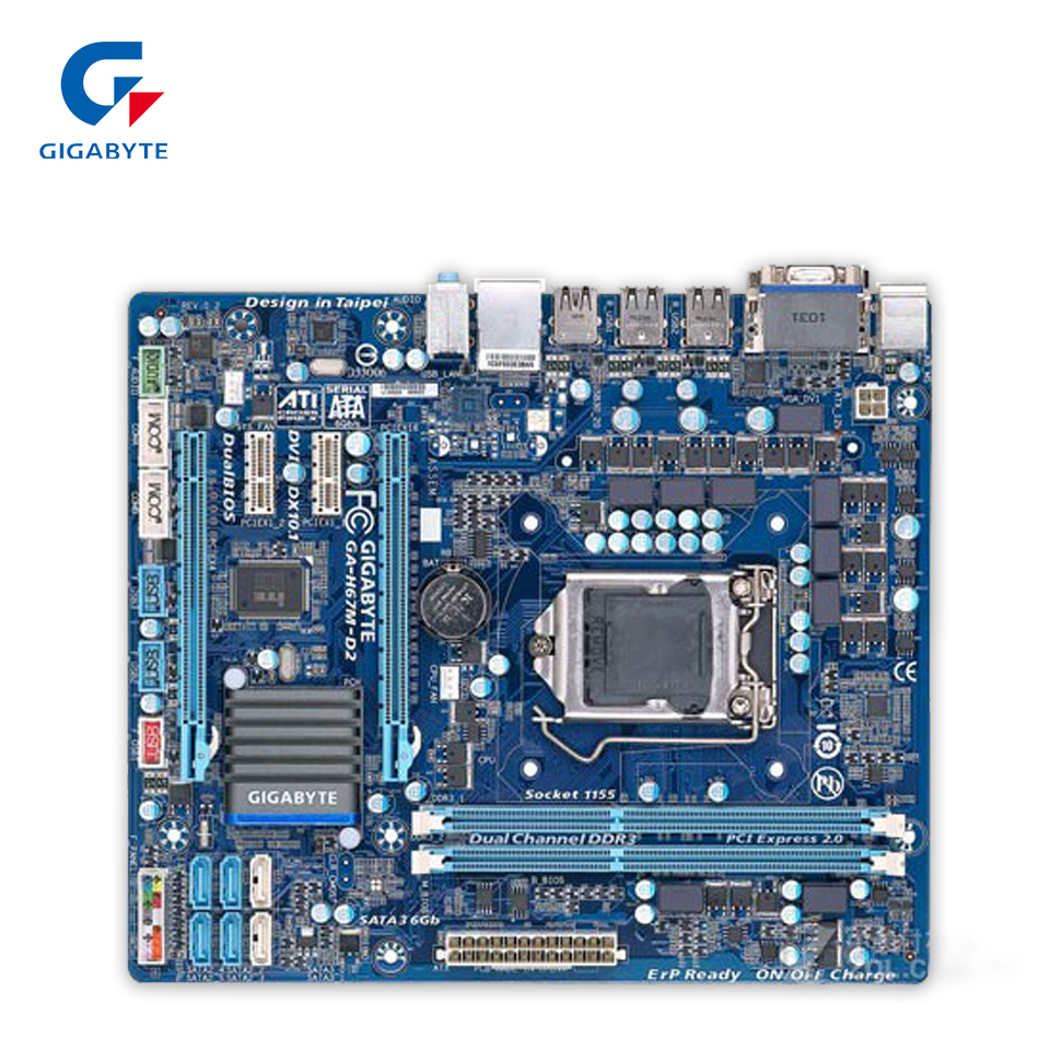 Gigabyte GA-H67M-D2 Original Used Desktop Motherboard H67M-D2 H67 LGA 1155 i3 i5 i7 DDR3 16G Micro-ATX