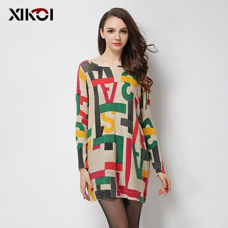 XIKOI nadměrné svetry dámské módní ležérní svetr batwing rukáv vícebarevný vzor tisku slash krku pletené svetry