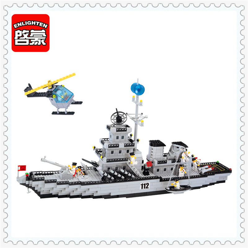 ENLIGHTEN 112 Military Army Battle Cruisers Ship Building Block Compatible Legoe 970Pcs Educational  Toys For Children aircraft carrier ship military army model building blocks compatible with legoelie playmobil educational toys for children b0388