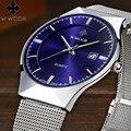 2016 Mens Relojes de Primeras Marcas de Moda de Lujo Reloj de Los Hombres de Acero Lleno de Cuarzo Ultra Delgado Fecha 50 m Impermeable Reloj Relogio Masculino
