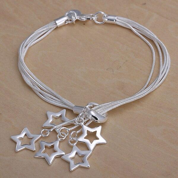 Punctual Wholesale 925 Sterling Silver Bracelet,925 Silver Fashion Jewelry Charm Bracelet 5line&star Chain Bracelet For Women/men Sb153 Agreeable Sweetness Chain & Link Bracelets