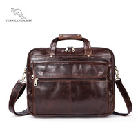 2018 Polyester Men Top Male Commercial Briefcase Real Leather Vintage Men S Messenger Bag Casual Natural
