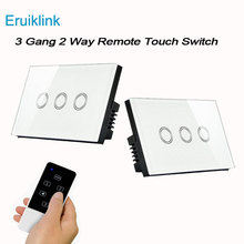 eWelink US Standard 3 gang 2 way WIFI Remote Control Light Switches, Wireless Control Wall Touch Switch for Smart Home interruptor smart light switch us standard 1 2 3 gang 110v wifi wireless ewelink app remote control touch switches wall switch