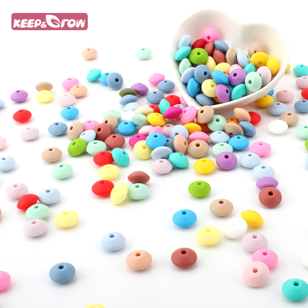 Keep&Grow 50Pcs 12MM Lentil Silicone Beads BPA Free Baby Teethers Food Grade Abacus Beads For Baby Nursing Pacifier Chain Making