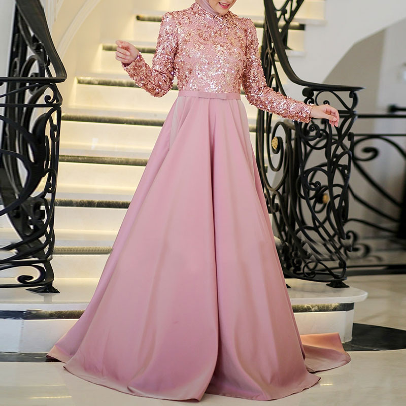 Fashion Pink Long Sleeve Sequins A Line Muslim Prom Dresses Evening ...