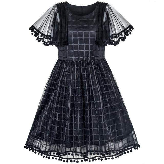 Girls Dress Black Tulle Cape Sleeve Plaid Tartan Party 2019 Summer Princess  Wedding Dresses Children Clothes Pageant Sundress 88f36d759556