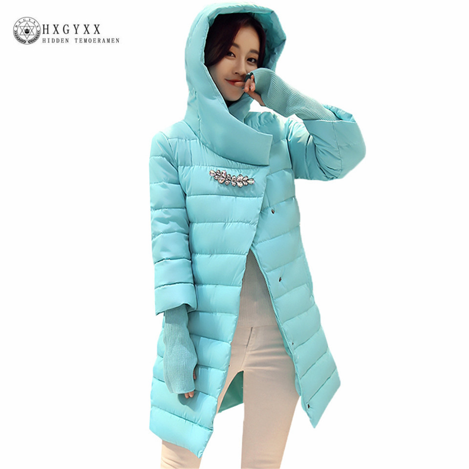 2017 Puffer Jacket Winter Women Hooded Parka Female Coat Solid Color Warm Cotton Outwear Plus Size Overcoat With Gloves OK427