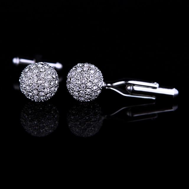 KFLK Jewelry Brand Silver Crystal Fashion Cuff link Button High Quality shirt cufflink for mens Luxury Wedding Free Shipping 2
